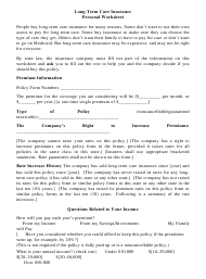 "Form LTC-B ""Long-Term Care Insurance Personal Worksheet"" - Missouri"