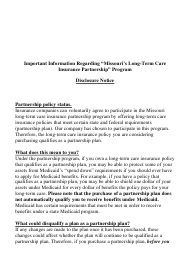 "Form LTC-6 ""Long-Term Care Insurance Partnership Disclosure Notice"" - Missouri"