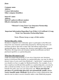 "Form LTC-7 ""Missouri's Long-Term Care Insurance Partnership Delivery Notice"" - Missouri"