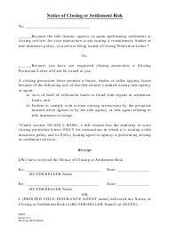 "Form T-3 ""Notice of Closing or Settlement Risk"" - Missouri"