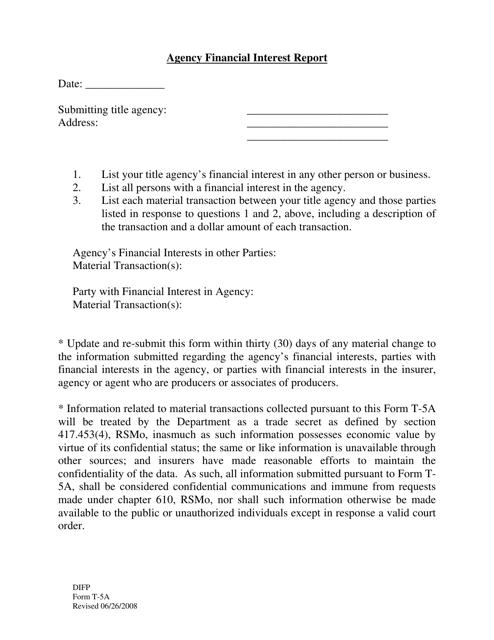 Form T-5A  Printable Pdf