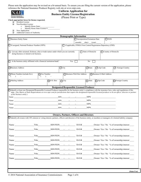"""Uniform Application for Business Entity License/Registration"" Download Pdf"