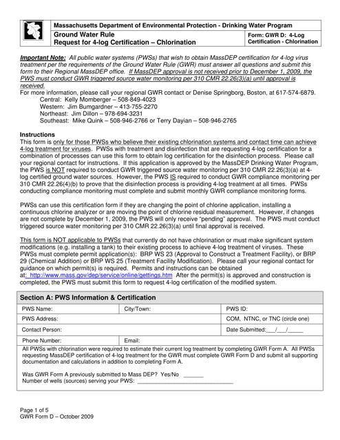 GWR Form D  Printable Pdf
