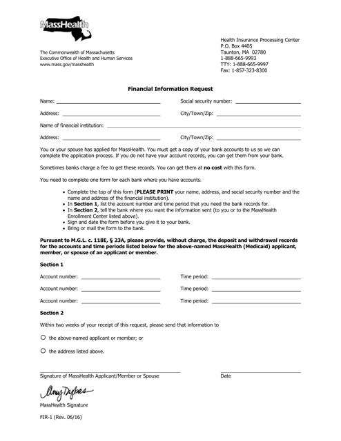Form FIR-1  Printable Pdf