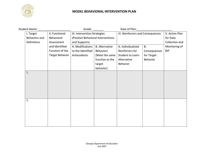 """Model Behavioral Intervention Plan"" - Georgia (United States) Download Pdf"