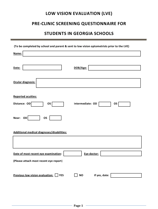 """""""Low Vision Evaluation (Lve) Pre-clinic Screening Questionnaire for Students in Georgia Schools"""" - Georgia (United States) Download Pdf"""