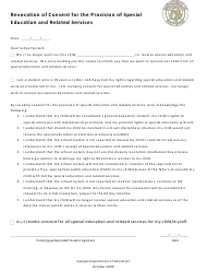 """""""Revocation of Consent for the Provision of Special Education and Related Services"""" - Georgia (United States)"""