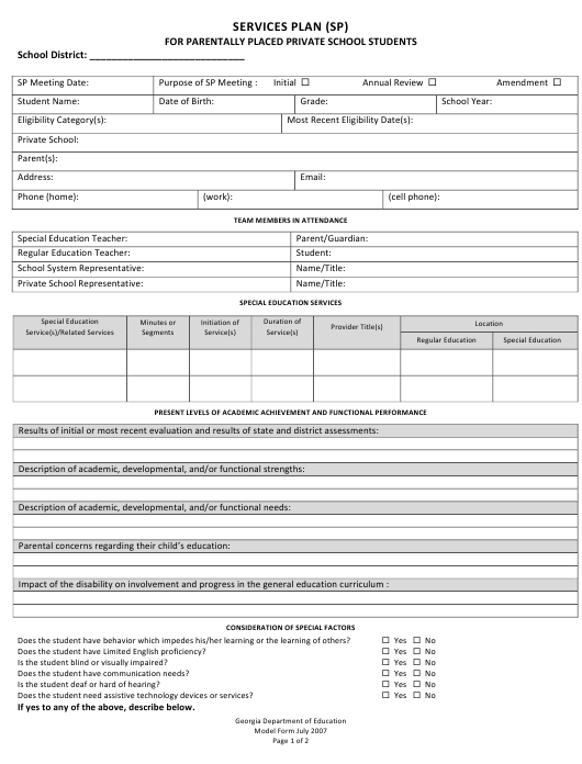 """""""Services Plan (Sp) for Parentally Placed Private School Students"""" - Georgia (United States) Download Pdf"""