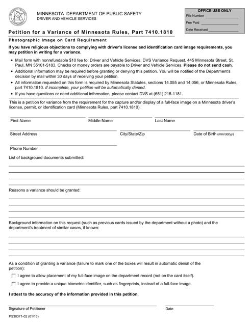 Form PS30371  Printable Pdf