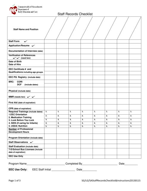 Massachusetts Staff Records Checklist