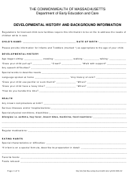 """Developmental History and Background Information"" - Massachusetts"