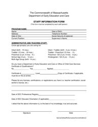 """Staff Information Form"" - Massachusetts"