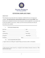 """""""Investor Complaint Form"""" - Mississippi"""