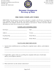 """""""Pre-need Complaint Form"""" - Mississippi"""