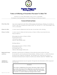 """Form 703 """"Notice of Offering of Securities Pursuant to Rule 703"""" - Mississippi"""