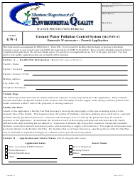 "Form GW-1 ""Ground Water Pollution Control System (Mgwpcs) Domestic Wastewater - Permit Application"" - Montana"
