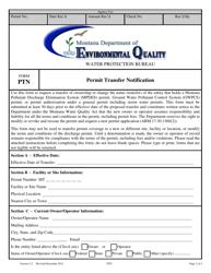 "Form PTN ""Permit Transfer Notification"" - Montana"