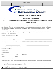 "Form RFT ""Request for Termination Individual Mpdes Permits and Non-storm Water General Permit Authorizations"" - Montana"