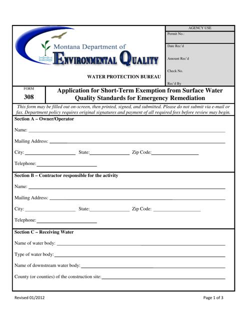 Form 308  Printable Pdf