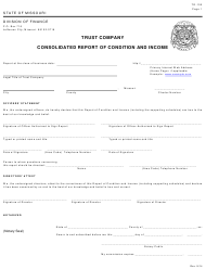 """Form TR-100 """"Trust Company Consolidated Report of Condition and Income"""" - Missouri"""