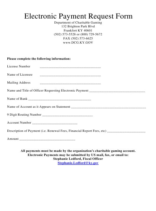 """""""Electronic Payment Request Form"""" - Kentucky Download Pdf"""
