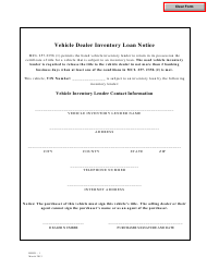 "Form BLRD-1 ""Vehicle Dealer Inventory Loan Notice"" - Michigan"