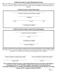 "Form BLRD-2 ""Vehicle Inventory Lender Registration Form"" - Michigan"