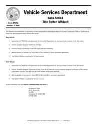 "Form VSD624 ""Fact Sheet - Title Switch Affidavit"" - Illinois"
