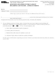 "Form WCT-3 Affidavit B ""Questions and Affidavit for Claimant Regarding Lost Income"" - Missouri"