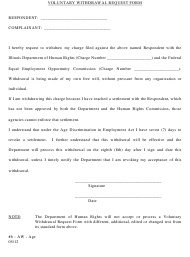 """""""Voluntary Withdrawal Request Form (Ca/Sa)"""" - Illinois"""