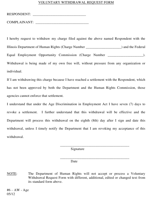 """""""Voluntary Withdrawal Request Form (Ca/Sa)"""" - Illinois Download Pdf"""