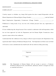 """""""Voluntary Withdrawal Request Form (Cf/SF/Ce/Se)"""" - Illinois"""
