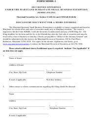 "Form MISBE-1 ""Notice of Maryland Intrastate Business Exemption"" - Maryland"