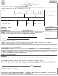 "Form PS2041 ""Application for Special Registration Plates"" - Minnesota"