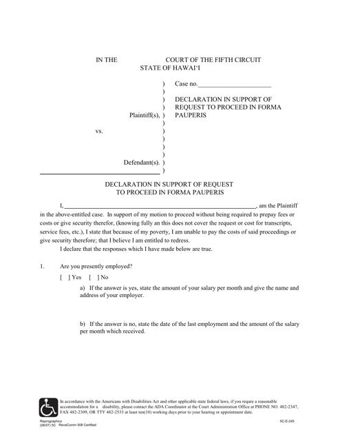 Form 5C-E-245  Printable Pdf