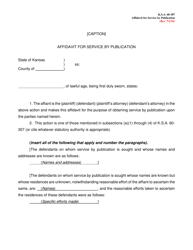 """""""Affidavit for Service by Publication"""" - Kansas"""