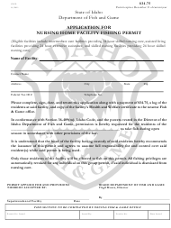 "Form CE-22 ""Application for Nursing Home Facility Fishing Permit"" - Idaho"