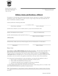 """Military Status and Residency Affidavit Form"" - Idaho"