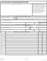 "Form ISP6-134 ""Recyclable Metal Purchase Registration Form"" - Illinois"