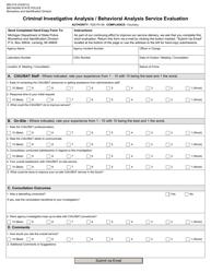 "Form BID-010 ""Criminal Investigative Analysis / Behavioral Analysis Service Evaluation"" - Michigan"