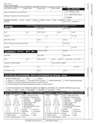 "Form DV-001 ""Standard Domestic Relationship Incident Report"" - Michigan"