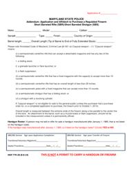 "Form MSP77R-2B ""Addendum: Application and Affidavit to Purchase a Regulated Firearm Short Barreled Rifle (Sbr)/Short Barreled Shotgun (Sbs)"" - Maryland"