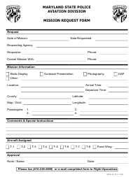"""Form MSP22-14 """"Mission Request Form"""" - Maryland"""