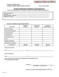 Form VTPC-07 Budget/ Program Modification Request - Maryland