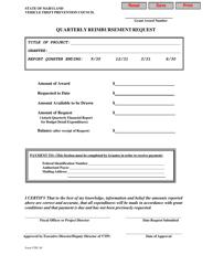 Form VTPC-05 Quarterly Reimbursement Request - Maryland