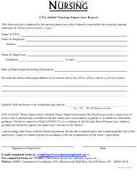 """""""Cna Initial Nursing Supervisor Report Form"""" - Nevada"""