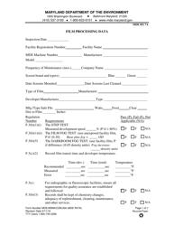 "Form MDE/ARMA/COM.004 (MDE RX7A) ""Film Processing Data"" - Maryland"