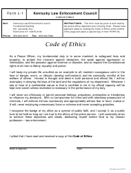 "KLEC Form L-1 ""Peace Officer Code of Ethics"" - Kentucky"