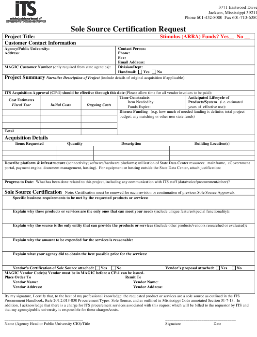 """Sole Source Certification Request Form"" - Mississippi Download Pdf"