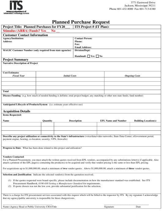 """""""Planned Purchase Request Form"""" - Mississippi Download Pdf"""
